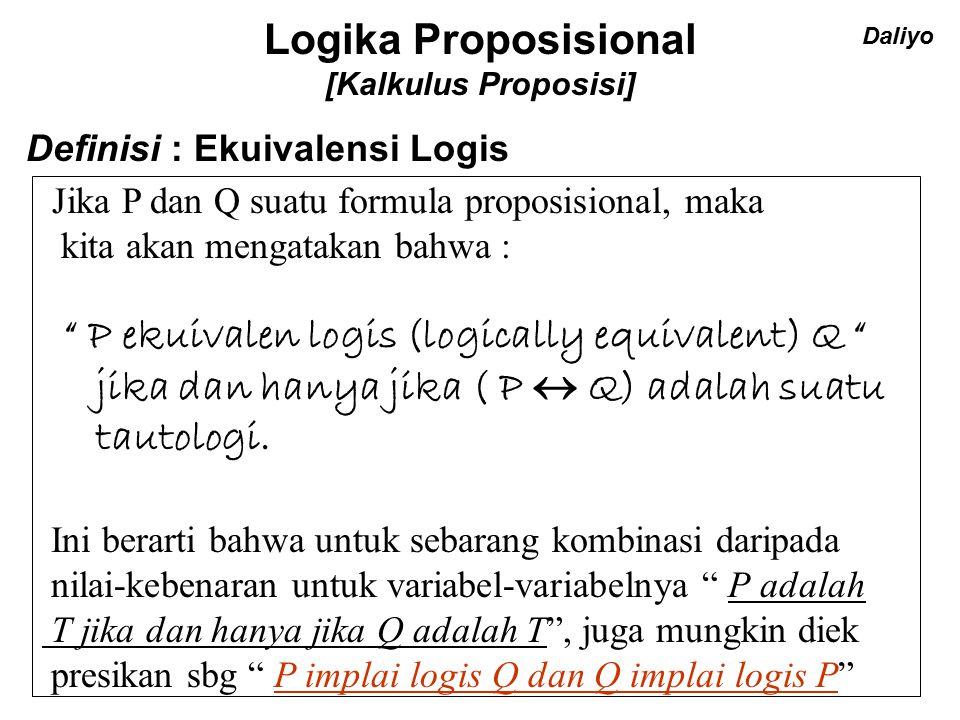 Logika Proposisional [Kalkulus Proposisi]